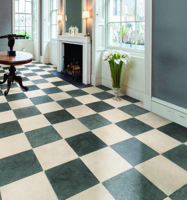 Zuber Limestone Tumbled Finish hallway tiles