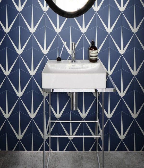 Lily Pad Porcelain Bathroom Floor in Admiral