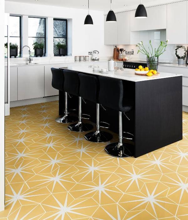 Lily Pad Porcelain kitchen floor in Custard